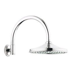 """GROHE - Grohe Rainshower Retro Shower Arm - Starlight Chrome - Available in multiple finishes. Features & SpecsTubular curved armInlet: 1/2"""" male threadsShown with 28 375 Retro RainshowerCan be used with any GROHE shower head EXCEPT Rainshower Jumbo. View Spec Sheet"""
