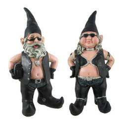 Gnoschitt and Gnofun Pair of Biker Garden Gnomes Statue Motorcycle Leather 9 Inc - Gnoschitt the biker garden gnome was Born to Ride! He and his wife, Gnofun, just can`t deal with the normal gnome life of gardening, fishing and chopping wood, so now they`re hell-bent for leather! Gnoschitt wears a leather vest, leather chaps and jeans, curved-toed boots and holds a saddlebag in one arm. Gnoschitt measures 9 inches tall, 4 inches wide and 3 inches deep. Gnofun wears a studded halter top, leather vest, leather chaps and jeans, and has curved-toed boots. Gnofun measures 8 inches tall, 4 inches wide and 3 inches deep. Both are made of cold cast resin and hand-painted with great detail. This pair makes a wonderful gift for any gnome collector.