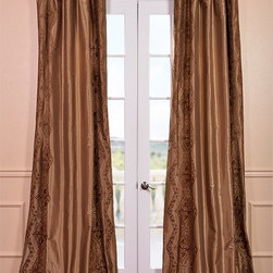 EFF - Chai Embroidered Faux Silk 108-inch Curtain Panel - Bring your window to life with this faux-silk curtain panel. This curtain panel features beautiful Chai embroidery and a lovely sheen. This 108-inch panel has dark brown embroidery on a lighter brown background that will go with many decors.