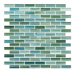 Rocky Point Tile - Rip Curl Green and Blue Hand Painted Glass Mosaic Subway Tile, 10 Square Feet - Sail away from your troubles by surrounding yourself with these blue and green hand-painted tiles. Gaze deeply at the captivating brush strokes and feel the calm wash over you.
