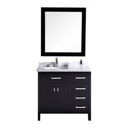 "Design Element - Design Element DEC076D-R London 36"" Single Sink Vanity Set with Drawers on Right - Design Element DEC076D-R London 36"" Single Sink Vanity Set in Espresso with Drawers on the Right"