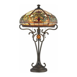 Bronze Pull-Chain Table Lamp with Tiffany Glass -