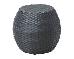 ZUO - Ocean Beach Stool - Exotically rounded, the Ocean Beach set brings a hint of Marrakesh to your dinner. Belled shape in a brown synthetic weave will stand up to anything you spill. Includes a table and chairs, sold separately.