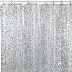 Baltic Linen Company, Inc. - Pebbles Silver 72-Inch x 72-Inch Vinyl Shower Curtain - Add shimmer to your decor with this stylish shower curtain. It features an allover pebble design with glimmering surfaces on a background of durable clear vinyl.