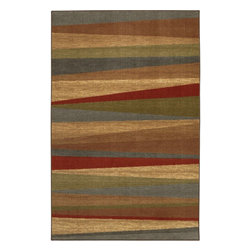 Mohawk Home - Mohawk New Wave Mayan Sunset Tan Contemporary Stripe 1'8 x 2'10 Rug (10482) - A classic combination of colors makes this rug a great companion to any room.  Printed on the same machines that manufacture one of the world