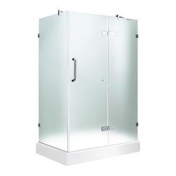 "VIGO Industries - VIGO 32 x 40 Frameless 3/8"" Frosted/Chrome Shower Enclosure - Update your bathroom with this uniquely stylish and totally frameless VIGO rectangular-shaped shower enclosure"