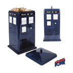 KOOLEKOO - Doctor Who TARDIS Cookie Tin - Would you believe a cookie tin in the shape of the TARDIS? If you're a big fan of the BBC's Doctor Who sci-fi TV series, you would! This dark-blue cookie container is made by Bif Bang Pow! and bears an uncanny resemblance to the Doctor's famed time machine, right down to the embossed details and call-box sign on the door. Measuring approximately 10-inches tall with a 5 1/2-inch square base, it's food safe and ready to store your sweets.