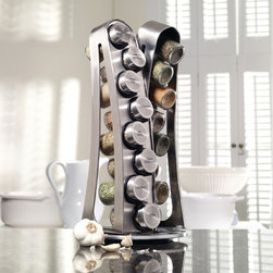 Kamenstein - Kamenstein 16-jar Stainless Steel Tower Spice Rack - Store all your favorite spices in style with this 16-jar rack. This rack includes 16 easy-to-refill jars in various delicious flavors.