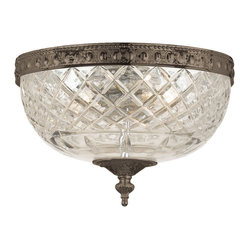 Crystorama - Richmond Lead Crystal Flush Mount - Nothing says luxury like lead crystal. This beautifully cut hemisphere fixture is balanced by a bronzed base and finial to bring palatial presence to your decor.