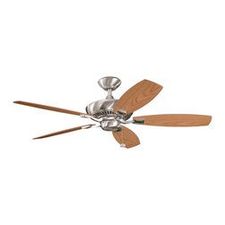 """BUILDER FANS - BUILDER FANS Canfield 52"""" Transitional Ceiling Fan X-SSB711003 - Clean finishes give a contemporary look to this Kichler Lighting ceiling fan. From the Canfield Collection, this fixture features reversible oak fan blades and a complimentary Brushed Stainless Steel finish."""