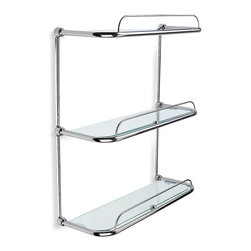StilHaus - Triple Glass Bathroom Shelf - Chromed brass structure with 3 crystal glass shelves.