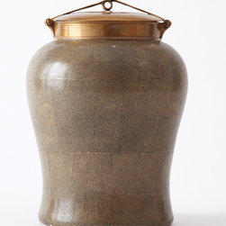 Khaki Shagreen Jar with Bronze Lid - Medium - Without endangering any species, this hand painted Khaki colored Shagreen Temple Jar is part of the Tozai's Classic Collection. Beautifully versatile and adaptable to various styles of d�cor, this shark skin textured jar is accentuated with a bronze lid and perfect to perch on a shelf or console. Topped with a delicate bronze lid as a finishing touch, this earthy jar should be placed in plain view upon a shelf to be properly appreciated.