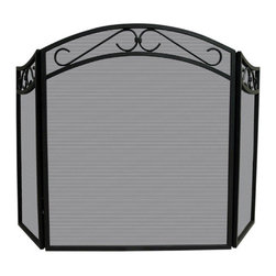 Uniflame - Uniflame S-1088 3 Fold Black Wrought Iron Arch Top Screen w/ Scrolls - 3 Fold Black Wrought Iron Arch Top Screen w/ Scrolls belongs to Fireplace Accessories Collection by Uniflame