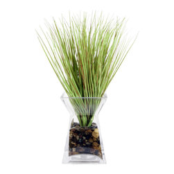 "Vickerman - Grass in Acrylic Water Glass Vase - 16"" Grass in Glass Vase"