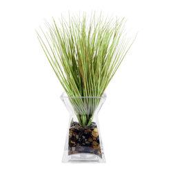 "Vickerman - Grass in Acrylic Water Glass Vase - 16"" Grass in Glass Vase"