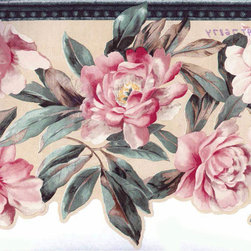 York Wallcoverings - White Pink Roses Wallpaper Border 76874At - Wallpaper borders bring color, character and detail to a room with exciting new look for your walls - easier and quicker then ever.
