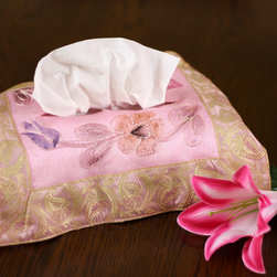 """Tissue Box Covers - Cute """"Pink Rose"""" tissue box cover. Hand painted design made in India. Dupion Silk fabric. Unique and decorative tissue box cover."""
