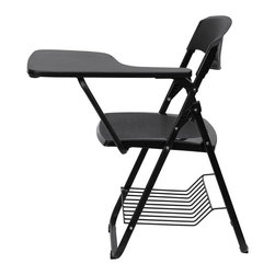 Flash Furniture - Black Plastic Chair with Left Handed Tablet Arm and Book Basket - This is the perfect tablet arm chair for any classroom or training room setting. The open back design allows for proper air flow with the added safety textured seat and back. This tablet arm chair will endure the test of time at an amazing value.