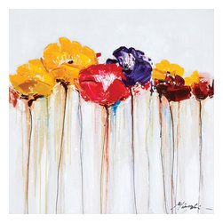 YOSEMITE HOME DECOR - Jeweled Poppies II - Bright and bold poppies will cheer up any living space. Deep lilac, burgundy, canary yellow and fuchsia flowers reach towards the sky with delicate stems. Add a second painting from the same family to give a more dramatic effect. This painting is hand stretched on canvas and ready for wall mounting. Bare walls can make for a dull living or business space which is why we carry a wide selection of unique paintings and wall decor. Create a one of a kind atmosphere with this vibrant acrylic on canvas of brightly colored poppies. Colors range from yellow to red and a single purple poppy for that extra pop in color for a dramatic edge. The stems are thin and almost appear to be running down the page like streaks of color. Pair this painting with our similar poppy painting for the perfect combination.