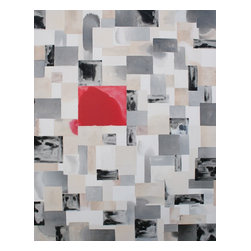"""Red Square Bleed No. 1, Original, Painting - the square bleed series begins with a perfectly measured square grid drawn on the canvas in pencil.  as colors are applied and manipulated, the grid becomes a guidepost instead of an ultimatum.  the finished work shows that deviation from the perfect plan is more beautiful and interesting than achieving """"perfection""""  painting arrives wired and ready to hang on gallery-wrapped canvas"""