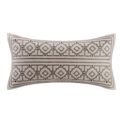 echo design - Odyssey Oblong Pillow - Features: -Odyssey collection. -Material: 100% Cotton faux linen. -Embroidered decorative pillow. -Decorative buttons.