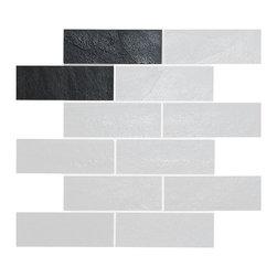 "Backsplash - Black Slate Mosaic Kitchen Backsplash Tile, 2""x5.5"" Sample - Black slate kitchen mosaic backsplash tile. Meshed Back black slate give unique look to your kitchen. Easily match with white kitchen cabinets and gray granite kitchen countertop."