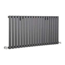 Hudson Reed - Revive - Luxury Anthracite Horizontal Designer Radiator 25 x 46.25 - Enhance the look and feel of any room in your home with this ultra-modern Revive 25 x 46.25 anthracite horizontal designer radiator. This high quality Revive designer radiator features an excellent heat output of 4,112 BTU's (1,206 Watts), which means that your room will be heated efficiently and effectively to a comfortable warmth.This luxury radiator is designed especially for use in any any room of the house, looking equally stylish in a modern or traditional bathroom; its twenty anthracite vertical columns also bring a touch of elegance to any living space. This modern version of the traditional cast-iron radiator is also highly functional, connecting directly into your domestic central heating system via the radiator valves included.    Luxury Anthracite Horizontal Designer Radiator 25 x 46.25 Details    Dimensions: (H x W x D) 25 (635mm) x 46.25 (1175mm) x 2.36 (60mm)    • Output: 1,206 Watts (4,112 BTUs)    • Pipe centres with valves: 49.8 (1265mm)    • Wall to Centre of Tapping: 2.56 (65mm)    • Number of columns: 20 (1 thickness 25mm)    • Fixing Pack Included (see image above)    • Designed to be plumbed into your central heating system    • Suitable for bathroom, cloakroom, kitchen etc.    Please note: Angled radiator valves included Buy now, to transform your bathroom or other living space, at an affordable price.    Please Note: Our radiators are designed for forced circulation closed loop systems only. They are not compatible with open loop, gravity hot water or steam systems.