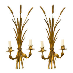 Mid-Century Pair Gilt Wheat-Sheaf Sconces - Mint condition Italian Mid-Century Sconce pair that have been freshly re-wired.