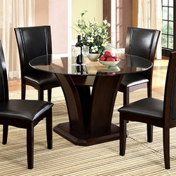 """Hokku Designs - Upton Round 5 Piece Dining Set - Modern art on display. The simplicity of this striking design keeps you sitting pretty. Fresh lines and a modern shape highlight the thick beveled glass top and bold reversed pedestal base give definition to any part of any room. Features: -Dark cherry wood finish. -Material: Solid wood, wood veneer and glass. -Contemporary style. -Round shape. -54andquot; Diameter thick tempered glass top. -Reversed pedestal base with inside shelf. -Seats 4. -Optional chairs. Dimensions: -Upton Dining Table: 30.25"""" H x 30.25"""" W x 54"""" D. -Uptown Parsons Chair (Set of 2): 41"""" H x 20"""" W x 24"""" D."""