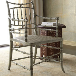 """Horchow - Perch Chair - Evoking the Chinese Chippendale style filtered through Neoclassicism, this pretty chair combines a carved bamboo motif and rattan seat with a heavily distressed light blue finish. It's handcrafted of European beech. 21""""W x 22""""D x 33""""T with 26.25""""T arms...."""