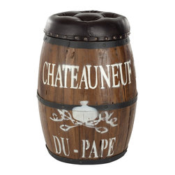 Safavieh - Safavieh FOX1011A Bryce Barrel Stool - Reminisce about your days in French wine country, sans the plane ticket. The warmth of regenerated leather and Javanese old house wood will rekindle the rustic charm that makes any house a home.