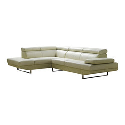 ESF - ESF 101 Full Off-White Top Grain Italian Leather Sectional Sofa - The ESF 101 sectional sofa is a great addition for any living room that needs a touch of modern design. This sectional comes fully upholstered in a beautiful off-white top grain Italian leather. High density foam is placed within the cushions for added comfort. The sofa features adjustable headrests for that extra touch of added relaxation. Only solid wood products were used when crafting the frame making the sofa a very durable piece. The ottoman shown does NOT come included with the sofa.