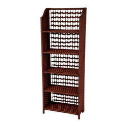 """Oriental Furniture - 53"""" Natural Fiber Shelving Unit - Mahogany - Built from wood and natural woven plant fiber, this collapsible unit maximizes storage space without being heavy or bulky. The natural fiber lends an eclectic appearance that fits in with many styles of decor, and it is so easy to set up and move around that it will find a space in any home or business."""