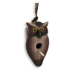 Zeckos - Whimsical Wide Eyed Owl Hanging Birdhouse - This wonderful owl shaped birdhouse will add an element of whimsy to your back yard, patio or garden area. A wooden box is adorned with a hand-carved cold cast resin owl front that resembles wood, then hand-painted in beautiful neutral browns with a touch of yellow to make this birds eyes pop while providing a very stylish home for your feathered friends It measures 7 inches long, 5 1/4 inches wide and 4 1/4 inches deep with a 12 inch rope hanger. This would be a wonderful addition to any collector's assortment.
