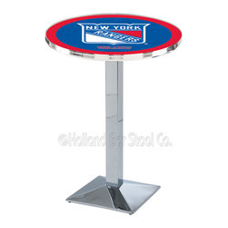 Holland Bar Stool - Holland Bar Stool L217 - Chrome New York Rangers Pub Table - L217 - Chrome New York Rangers Pub Table  belongs to NHL Collection by Holland Bar Stool Made for the ultimate sports fan, impress your buddies with this knockout from Holland Bar Stool. This L217 New York Rangers table with square base provides a commercial quality piece to for your Man Cave. You can't find a higher quality logo table on the market. The plating grade steel used to build the frame ensures it will withstand the abuse of the rowdiest of friends for years to come. The structure is triple chrome plated to ensure a rich, sleek, long lasting finish. If you're finishing your bar or game room, do it right with a table from Holland Bar Stool.  Pub Table (1)