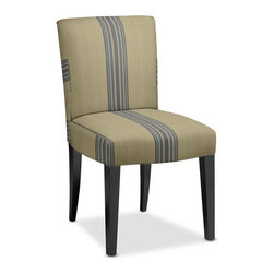 Fitzgerald Upholstered Side Chair, Rustic Yacht Stripe - I love the texture on this chair combined with the stripe. It's so pretty.