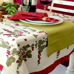 None - Gooseberry Red/ Green Rectangular Cotton Tablecloth - Provide a pretty foundation with this rectangular tablecloth made of easy-care,machine washable cotton. Featuring a red,white and green berry and foliage design,this table covering suits the winter holidays and fits a country motif.