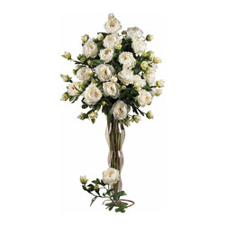 "Nearly Natural - Nearly Natural 38.5"" Peony w/Leaves Stem (Set of 12) in White - Add a touch of real class to any decor with these beautiful, stately Peonies flower stems. The full silk blooms recreate a flower picked at its absolute prime, while the soft stems sport crisp leaves peeking out, creating the perfect compliment. And the best part is, they will never wilt or dry up - the beauty is truly timeless. Sold as a set of twelve stems, these make a perfect gift for any flower lover (even give a set to yourself!)"