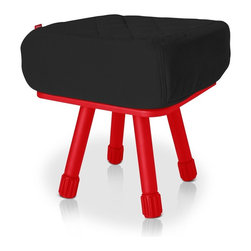 Fatboy - Krukski Stool in Black with Red Tablitski Cushion - The Baboesjka pillow is made with high quality, super soft, water repellent, polyester fabric