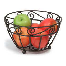 Spectrum Diversified Designs - Scroll Fruit Bowl - Bronze - Keep fresh fruit and vegetables handy and ready to eat with our Scroll Fruit Bowl. Also great for serving bread, rolls and muffins.  Made of sturdy steel with a hammered bronze finish. A hospitality favorite for restaurants and hotels.