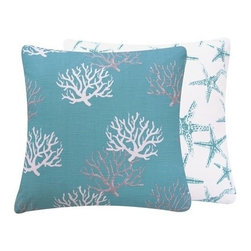 Chloe and Olive - Wonders of the Seas Turquoise Collection Pillow, 20x20 - Create a seaside retreat easily and quickly with this nautical and ocean-inspired collection.