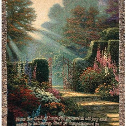 Manual - Thomas Kinkade Garden of Grace Tapestry Throw Blanket 50 Inch x 60 Inch - This multicolored woven tapestry throw blanket is a wonderful addition to any home. Made of cotton, the blanket measures 50 inches wide, 60 inches long, and has approximately 1 1/2 inches of fringe around the border. The blanket features a depiction of Thomas Kinkade's 'Garden of Grace', with the Bible verse 'May the God of hope fill you with all joy and peace in believing, that ye may abound in hope, through the power of the Holy Ghost.