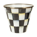 Courtly Check Enamel Pot | MacKenzie-Childs - Who doesn't need a useful pot to put things in? The sturdy, steel underbody of our Courtly Check® Enamel Pot is hand-painted with color-dragged Courtly Checks®, and rimmed in bronzed stainless steel. For plants, naturally, but also ice cream, popcorn, a petite ice bucket, or flowerpot bread pan—the list goes on. This pretty pot shines with the high-contrast gloss of our most popular pattern, a perfect complement to any decor.