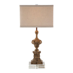 Kathy Kuo Home - Pair Treviso Swedish Vintage Gold Urn Based Table Lamp - Carved old wood with flecks of gold is hand carved and attached to an acrylic base on the Treviso Lamp. Price marked is for a pair.