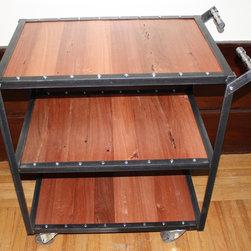 Industrial bar cart w/reclaimed redwood wall board - J.S of dark metal machine works