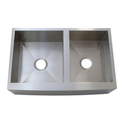 Kingston Brass - Double Bowl Farmhouse Undermount Kitchen Sink - The double bowl farmhouse undermount kitchen sink is designed to comply with any type of look for your kitchen--modern or traditional. The long panel on the front of the sink signifies its 'farmhouse' or 'apron-front' look and includes two wide square-shaped basins--both deep and spacious for easy cleaning. The workspace is exceptional and the stainless steel makeup helps prevent chips and scratches .