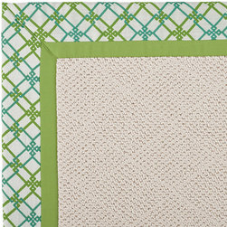 Frontgate - Outdoor Parkdale Rug in Sunbrella Criss Cross Green/Green White Wicker - 5' x 8' - Wicker-textured base is woven in soft and durable olefin. Choose from two base colors on White Wicker borders. Cleans with soap and water. Sunbrella® fabric is resistant to fading, staining, and mildew. Rug pad recommended (sold separately). Our Parkdale Rug with colorful borders match the premium all-weather fabrics featured on our replacement cushions, pillows, draperies and umbrellas. This all-weather rug will work just as beautifully indoors as it does outside.  .  .  . Sunbrella fabric is resistant to fading, staining, and mildew .  . Made in the USA.