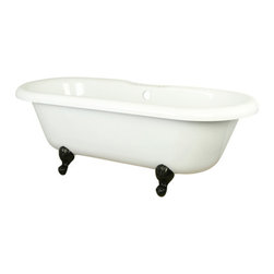 Kingston Brass - 67-Inch Acrylic Tub with Harrisburg Feet - This clawfoot tub features a long 67in. white acrylic body with an oval-shaped design and a 7in. side hole drilled at the center of the tub. The size of the tub provides ample space allowing one or two people to occupy the ends for a full-body submersion in the bath. The white porcelain enamel is durable and easy to clean utilizing a soft cloth and detergent.
