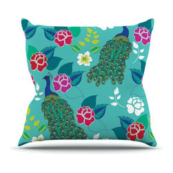 "Kess InHouse - Anneline Sophia ""Mexican Peacock"" Teal Rainbow Throw Pillow (26"" x 26"") - Rest among the art you love. Transform your hang out room into a hip gallery, that's also comfortable. With this pillow you can create an environment that reflects your unique style. It's amazing what a throw pillow can do to complete a room. (Kess InHouse is not responsible for pillow fighting that may occur as the result of creative stimulation)."