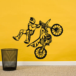ColorfulHall Co., LTD - Removable Sports Art Decoration Cars Wall Decals Motocross Wall Decals, Black - You will find hundreds of affordable peel - and - stick wall decal designs, suitable for all kinds of tastes and every room in your house, including a children's movie theme, characters, sports, romantic, and home decor designs from country to urban chic. Different from traditional decals, vinyl wall decals is with low adhesive that allows you to reposition as often as you like without damaging the paint. Application is easy: peel offer the pre-cut elements on the design with a transfer film, and then apply it to your wall. Brighten your walls and add flair to your room is just as easy.